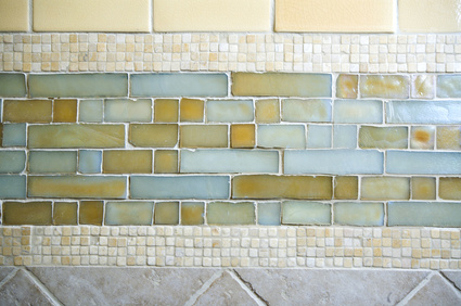glass and stone tile backsplash