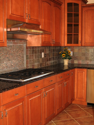 slate stone backsplash