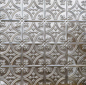 Stamped metal backsplash