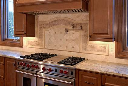 stone backsplash round top design