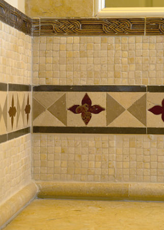 square stone mosaic backsplash