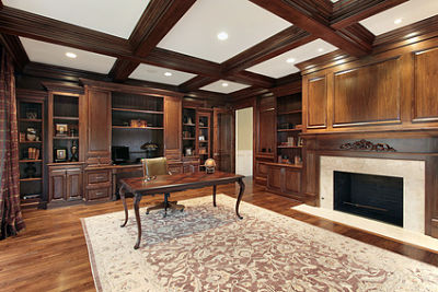 small coffered ceiling area over island