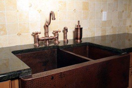 hammered copper kitchen sink